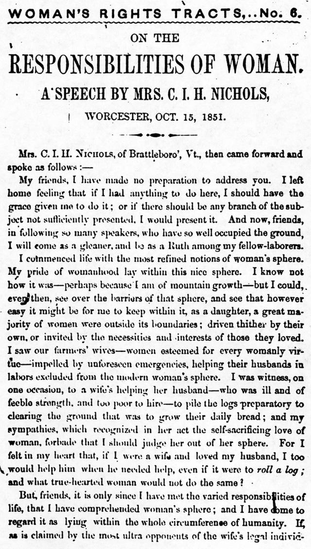 Clarina Nichols Responsibility speech 1851