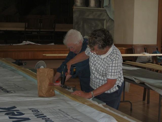 Vols  Charlotte Clayton & Ginny Chamberlin using power tools!