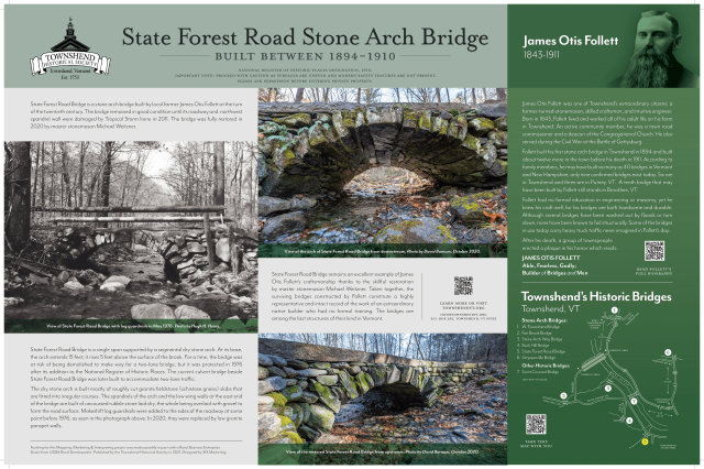 state forest road stone arch bridge